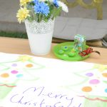 merry christmas sign with flowers