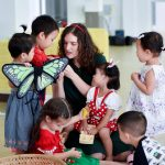 teacher and students in international preschool Ekamai