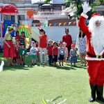 Santa, teachers, children in the lovely garden at bright Skies international kindergarten Ekamai