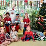 children from many nationalities meet Santa at pre-school bangkok
