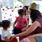 face painting for Valentines day at nursery in Bangkok