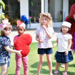 Valentines day fun outside in the garden of Bright Skies International School