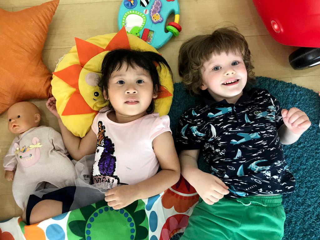 friends playing at pre-school