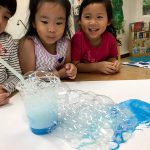 science play with bubbles at Bright Skies International Pre school