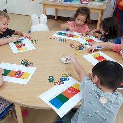 nursery children learning their colours at school in Ekamai Bangkok